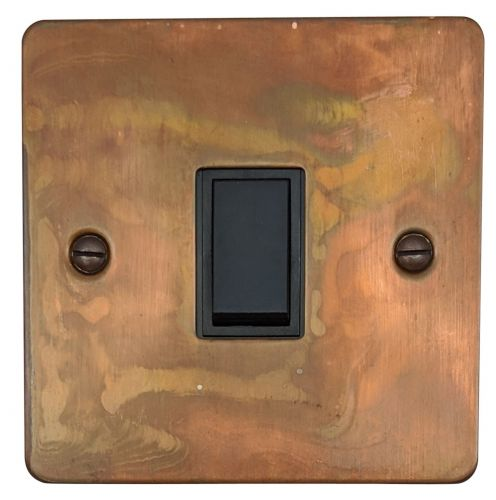 G&H FTC1B Flat Plate Tarnished Copper 1 Gang 1 or 2 Way Rocker Light Switch